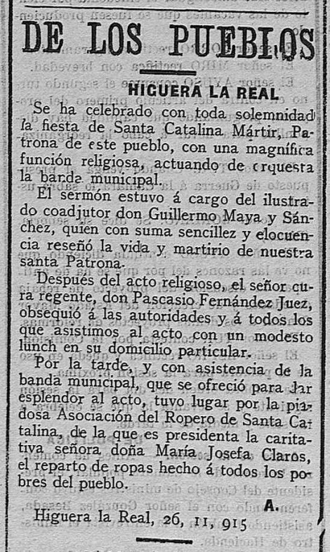 CULTO S.CATALINA 1915