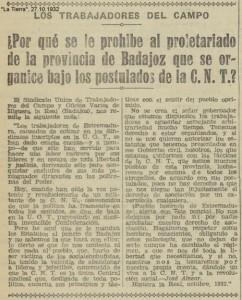 A JOSÉ ALVEAR C.N.T. CARTA 1932