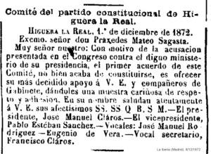 COMITÉ CONTITUCIONALISTA PABLO ESTEBAN 1872