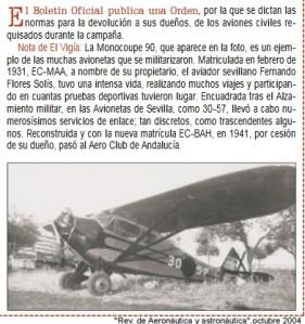MONOCOUPÉ FLORES SOLÍS 1931
